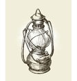 Hand-drawn vintage kerosene lamp Sketch oil vector image vector image