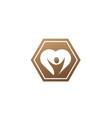 healthy person open hands inside a heart logo vector image