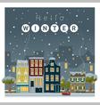 Hello winter cityscape background 2 vector image vector image