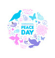 international peace day dove bird icon card vector image vector image