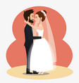 just married couple kissing avatars characters vector image vector image