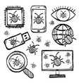 malware and virus internet security icons vector image vector image