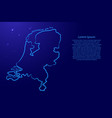 netherlands map from contour blue brush lines vector image vector image