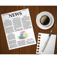 newspaper and a cup of coffee on a wooden table vector image vector image