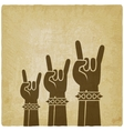 rock hands old background concept of rock vector image vector image