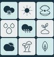set of 9 ecology icons includes raindrop cold vector image vector image