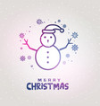 snowman design made with lines with snowflakes vector image