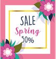 spring sale banner decorative flowers seasonal vector image
