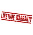 square grunge red lifetime warranty stamp vector image vector image