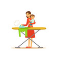 super mom with child ironing clothes vector image vector image