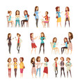 teenage girls groups cartoon icons vector image vector image