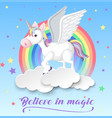unicorn with wings on clouds vector image