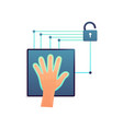 unlock device or door with whole hand scanning vector image vector image
