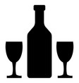 wine bottle and glass icon vector image vector image