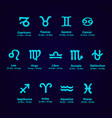 zodiac icons horoscope set vector image