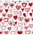 seamless background with red doodle sketch hearts vector image