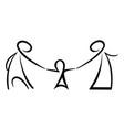 stick figures happy family vector image