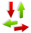 3d green and red arrows pointing to different vector image vector image