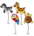 balloon in form of zebra giraffe parrot turtles vector image