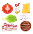 burger ingredients burger parts set vector image