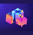 cash savings isometric 3d concept vector image vector image