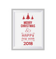 christmas card with white frame vector image