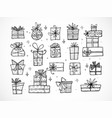collection of doodle sketch christmas gift boxes vector image vector image