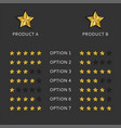 compare two products rating charts for assessing vector image