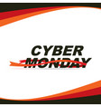 cyber monday sale banner with red ribbons vector image