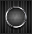 dark grey perforated circle on black striped vector image