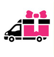 delivery trucks flat icon vector image vector image