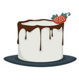 dessert iced cake with dripping chocolate and vector image