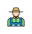 farmer agriculture gardening color line icon vector image vector image