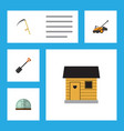 flat icon garden set of lawn mower cutter spade vector image vector image