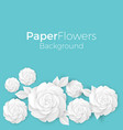 flowers background with paper blooming white 3d vector image vector image
