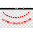 garland of red hearts on transparent background vector image