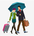 girl and boy under the umbrella vector image