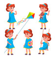 girl kindergarten kid poses set character vector image