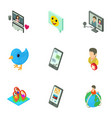global communication icons set isometric style vector image vector image