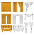 golden and white velvet silk curtains and vector image