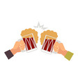 hands with beer bottle toasting vector image vector image