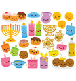 hanukkah cartoons with smiling faces vector image vector image