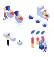 information processing isometric set vector image vector image