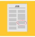 Job Newspaper icon Red pen skrible mark Flat vector image