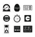 kitchen timer icons set simple style
