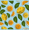 lemons hand drawn retro seamless pattern vector image
