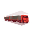 logging truck and trailer retro style vector image vector image