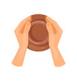 male or female hands making pottery jug top view vector image