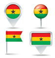 Map pins with flag of Ghana vector image