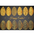 ornamental hand drawn sketch easter eggs in vector image